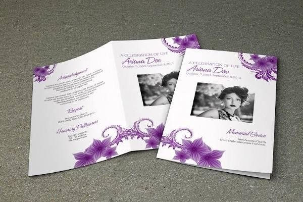 purple flower funeral program brochure