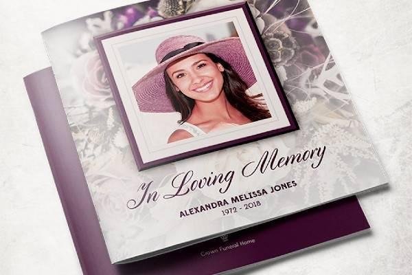 purple rose funeral program brochure template
