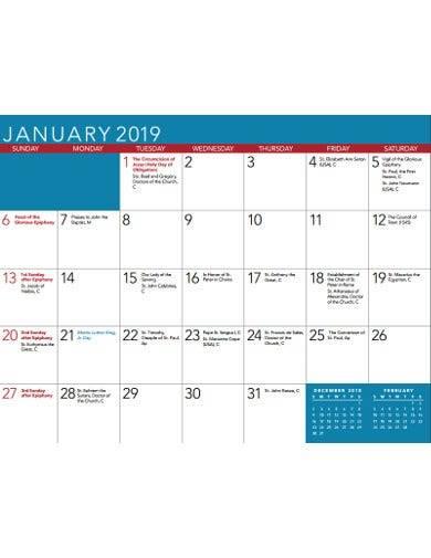 quarterly church calendar template