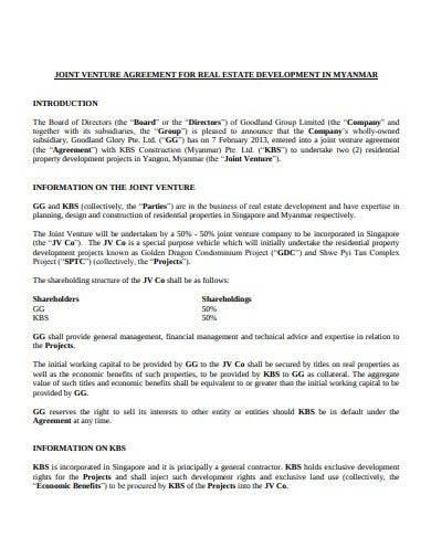 real estate development joint venture agreement
