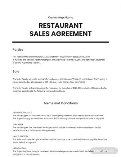 restaurant conditional sale agreement template