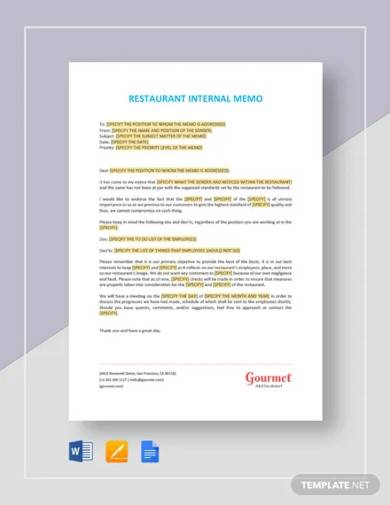 restaurant internal memo template