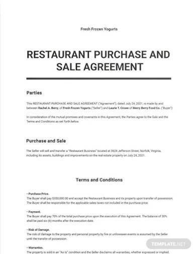 restaurant purchase and sale agreement template