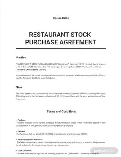 restaurant stock purchase agreement template