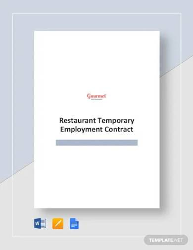 restaurant temporary employment contract template