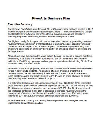 riverarts business plan template