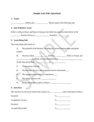 sample asset sale agreement