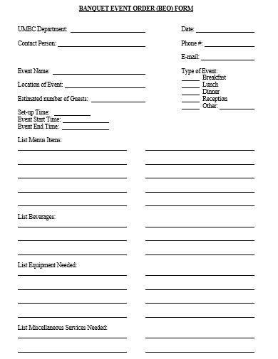 sample banquet event order