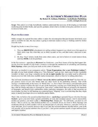 sample book marketing plan
