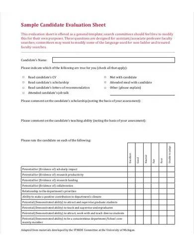sample candidate evaluation sheet