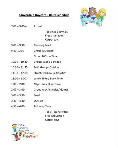 sample daily daycare schedule