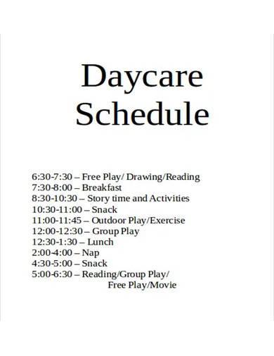 sample daycare schedule
