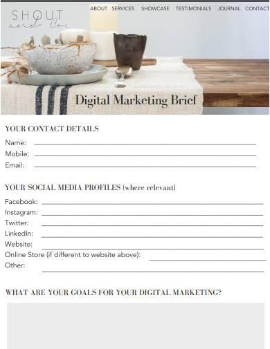 sample digital marketing brief