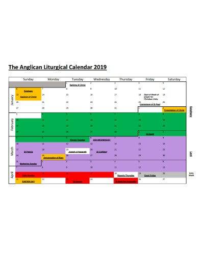 sample easter church calendar