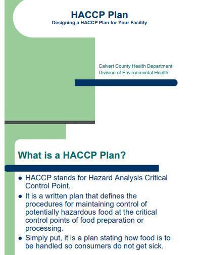 sample haccp plan template
