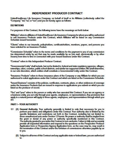 sample independent producer contract