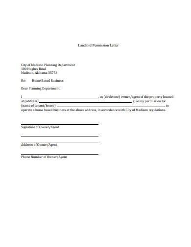 sample landlord permission letter
