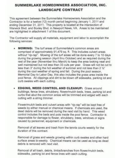 sample landscape contract template