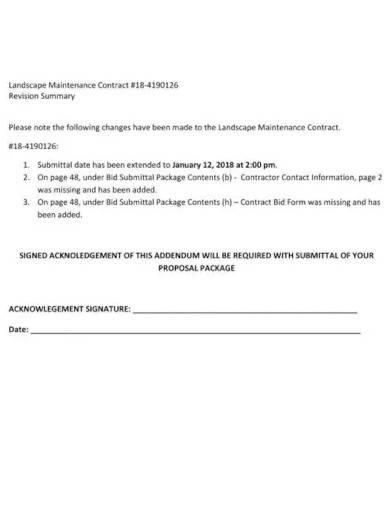 sample landscape maintenance contract