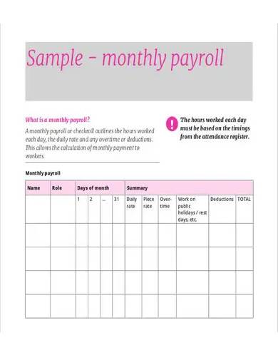 sample monthly payroll sheet