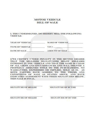sample motor vehicle bill of sale