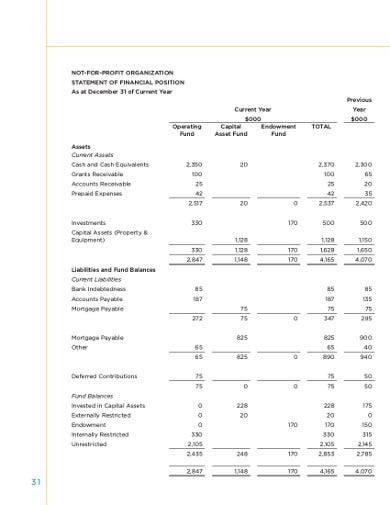 sample nonprofit financial statement