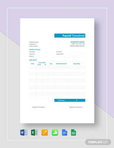 sample payroll timesheet template