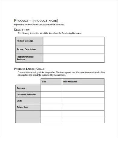 sample product launch marketing plan