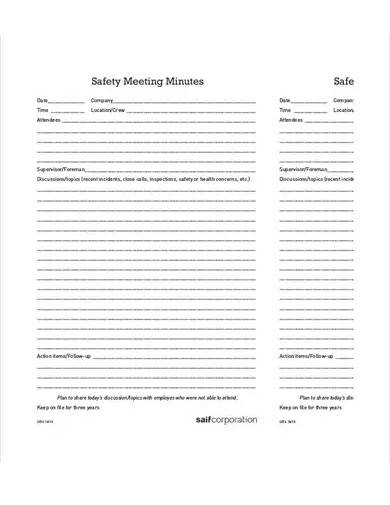 sample safety meeting minutes