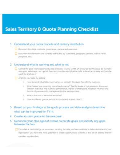 sample sales territory planning checklist