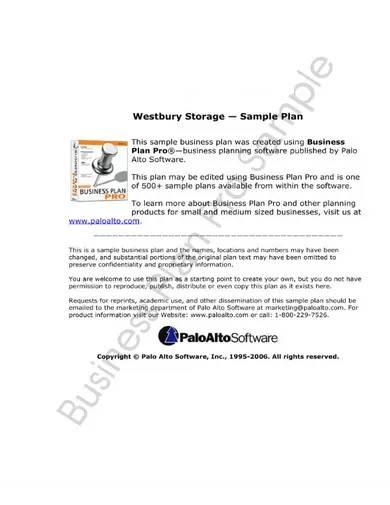 sample self storage business plan