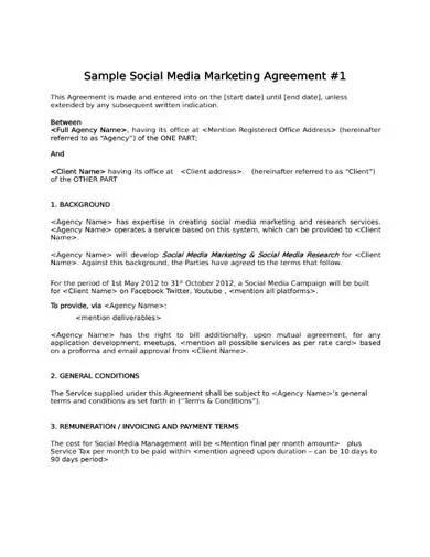 sample social media marketing agreement
