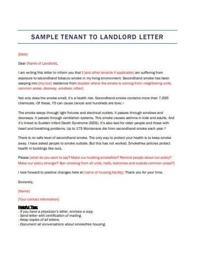 sample tenant to landlord letter