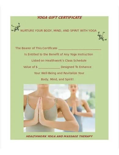 sample yoga gift certificate