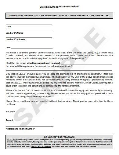 simple letter to landlord template
