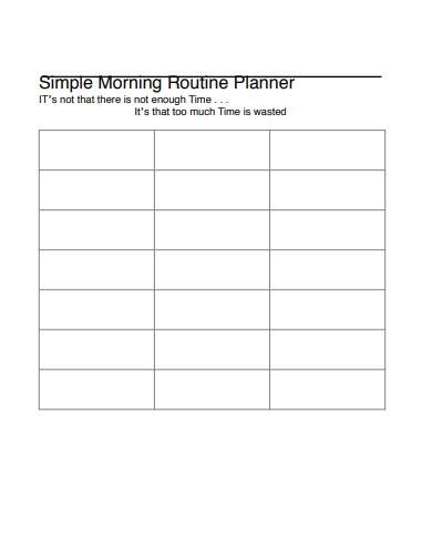 simple morning routine planner template