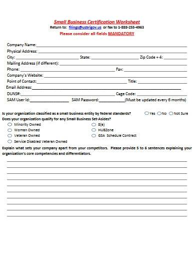 small business certification worksheet