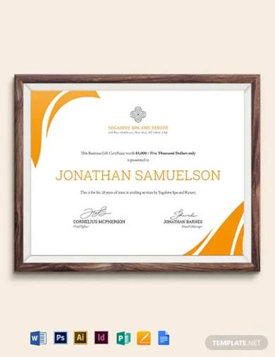 spa business gift certificate template