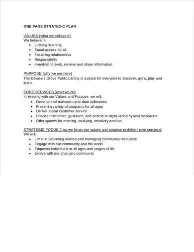 standard one page strategic plan