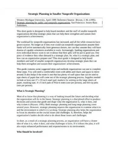 strategic plan for nonprofit organization