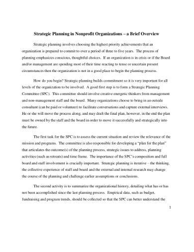 strategic planning in nonprofit organizations