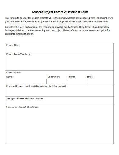 student project hazard assessment form