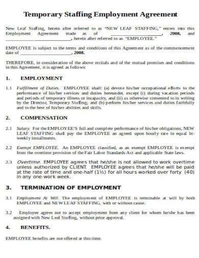 temporary staffing employment agreement