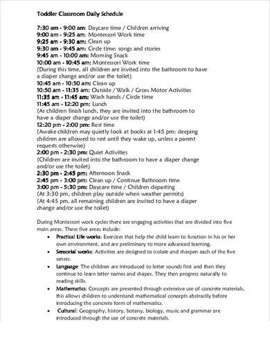toddler daycare schedule template