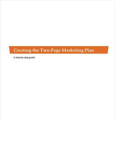 two page marketing plan for nonprofit