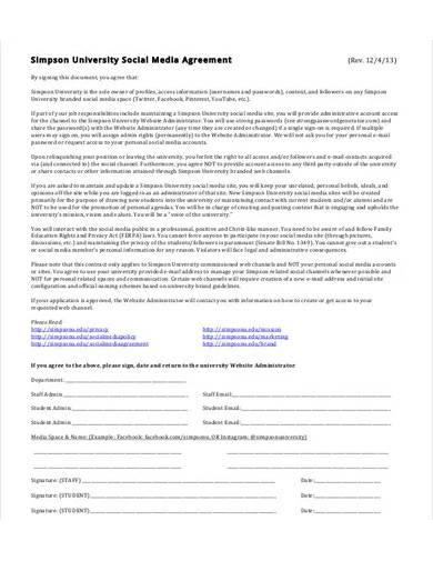 university social media marketing agreement