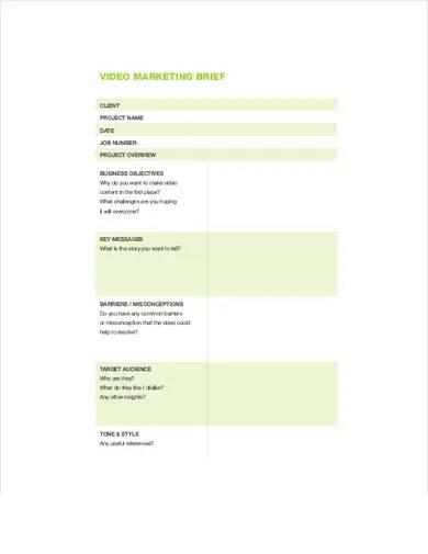 video marketing brief
