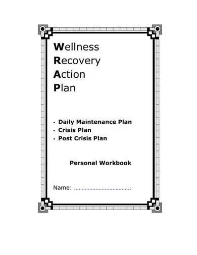 wellness recovery action plan workbook