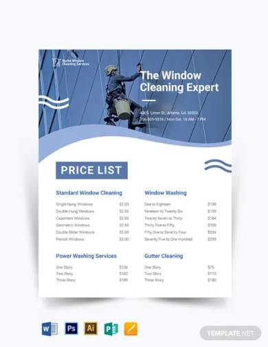 window cleaning price list template