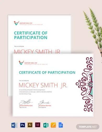 yoga participation certificate template